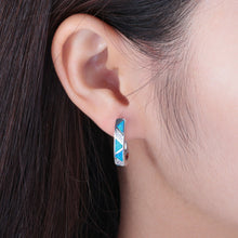 Load image into Gallery viewer, Spiritual Blue Fire Opal Silver Earrings