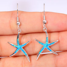 Load image into Gallery viewer, Spiritual Fire Opal Silver Starfish Earrings