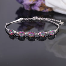Load image into Gallery viewer, Rainbow Amethyst Silver Bracelet