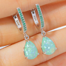 Load image into Gallery viewer, Green Opal Silver Earrings