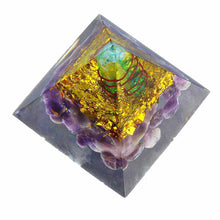 Load image into Gallery viewer, Reiki Amethyst Orgone Pyramid