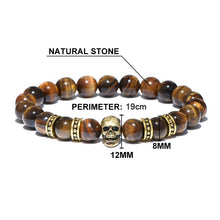 Load image into Gallery viewer, Spiritual Tiger-Eye Skull Bracelet