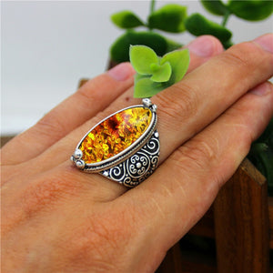 Spiritual Eye Shape Amber Ring