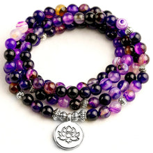 Load image into Gallery viewer, Purple Agate 108 Mala bracelet