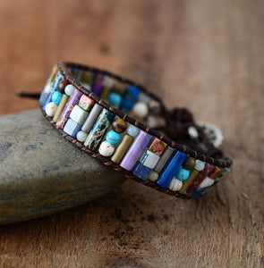 Natural Mixed Stone Tube Bracelet