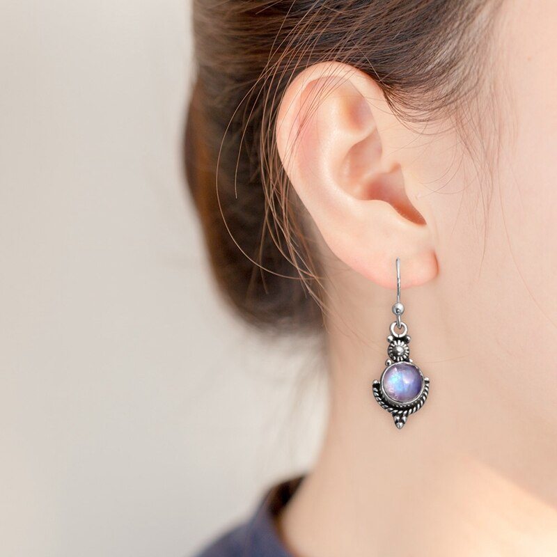Handicraft Retro Moonstone Earrings