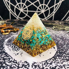 Load image into Gallery viewer, Turquoise Orgone Chakra Pyramid