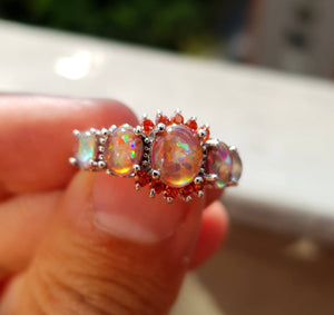 Orange Fire Opal Silver Ring