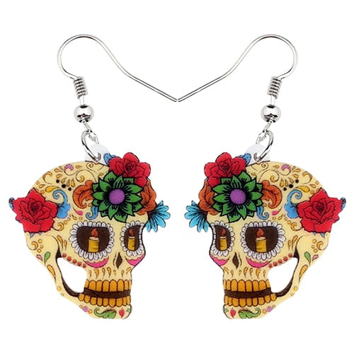 Halloween Floral Skull Earrings