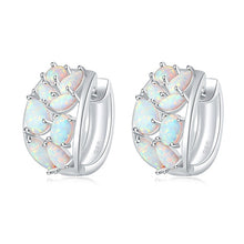 Load image into Gallery viewer, Spiritual White Fire Opal Hook Earrings