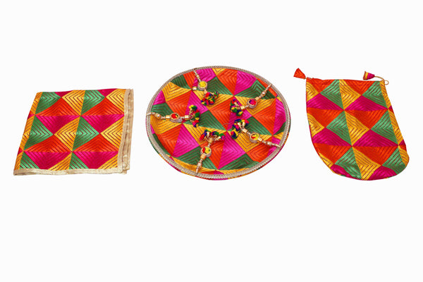 Phulkari Sagan thal set - Indian Wedding Bazar