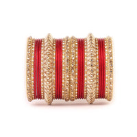 Colored Metal Bangles with Gold Kada