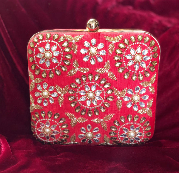 Red square clutch with handwork