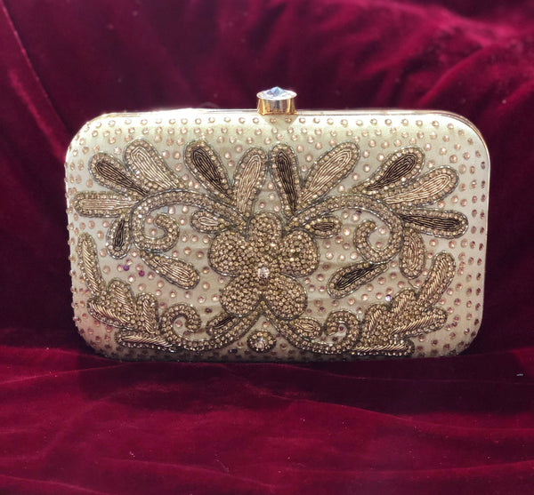 Designer clutch soft gold flower pattern