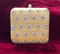 Orange Yellow square clutch with handwork - Indian Wedding Bazar