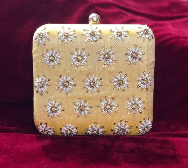 Orange Yellow square clutch with handwork