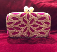 Designer clutch with velvet with handwork