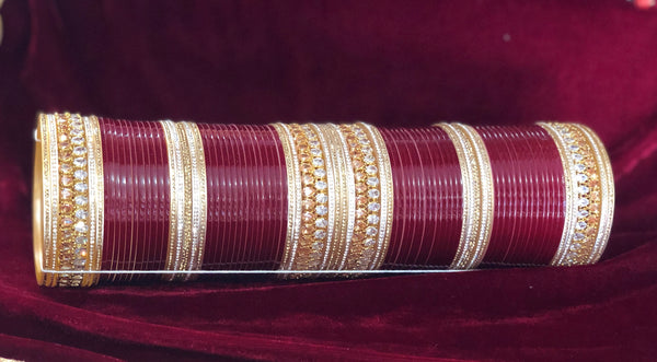 Maroon chura with white and champagne tear drop polki and AD - Indian Wedding Bazar