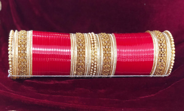 Red moti, AD and polki bangle chura