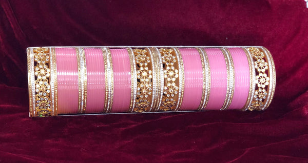 Light Pink White Polki and AD Chura - Indian Wedding Bazar