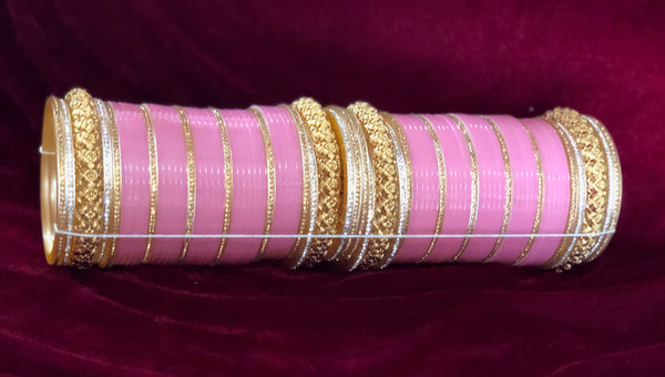 Light Pink AD and Gold Chura - Indian Wedding Bazar