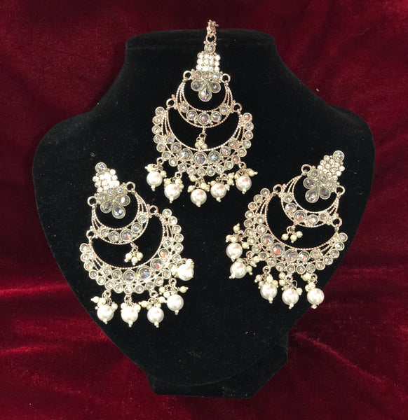 Traditional White Polki Tikka Set - Indian Wedding Bazar