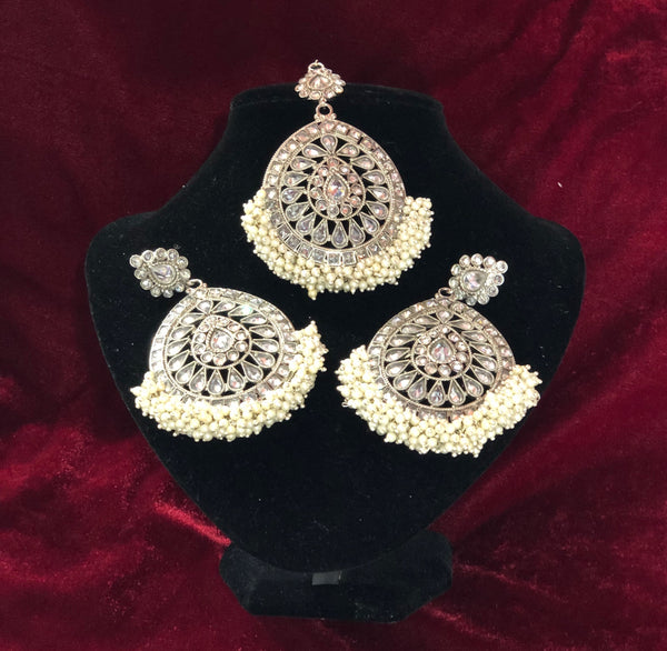 Tear Drop White Polki Set - Indian Wedding Bazar