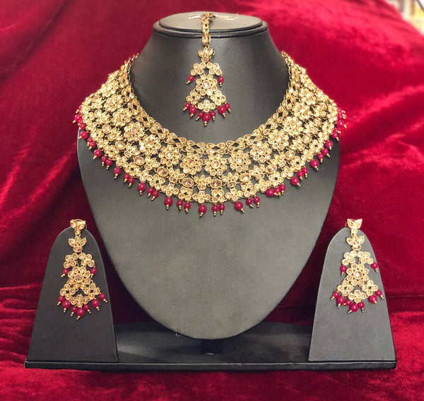 Designer Semi-Bridal Polki Set - Indian Wedding Bazar
