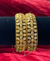 Tear Drop LCT Polki Bangles Set of 2 - Indian Wedding Bazar