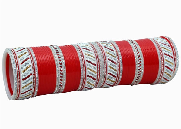 Bridal Chura with Red and Silver design - Indian Wedding Bazar