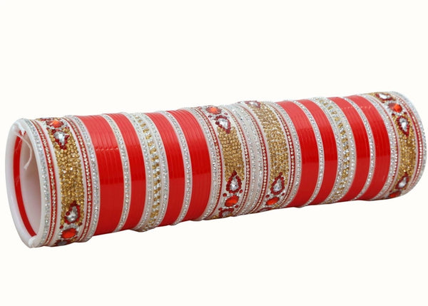 Bridal Chura with Gold, Red and Silver stones - Indian Wedding Bazar