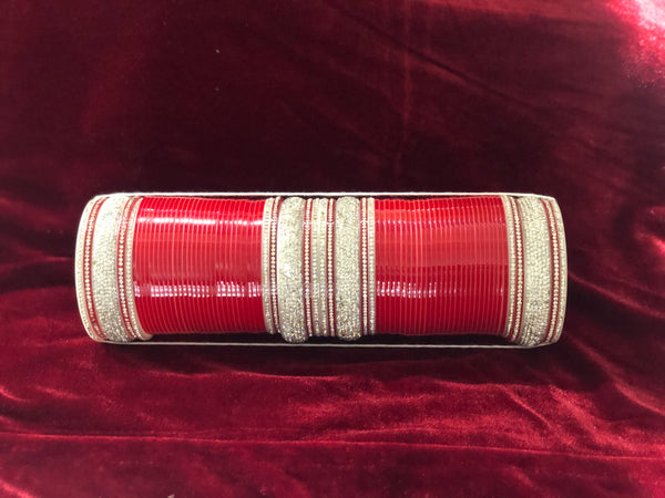 Silver and Red Chura - Indian Wedding Bazar