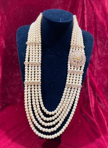 Regal Polki Single Pendant Groom's Mala - Indian Wedding Bazar