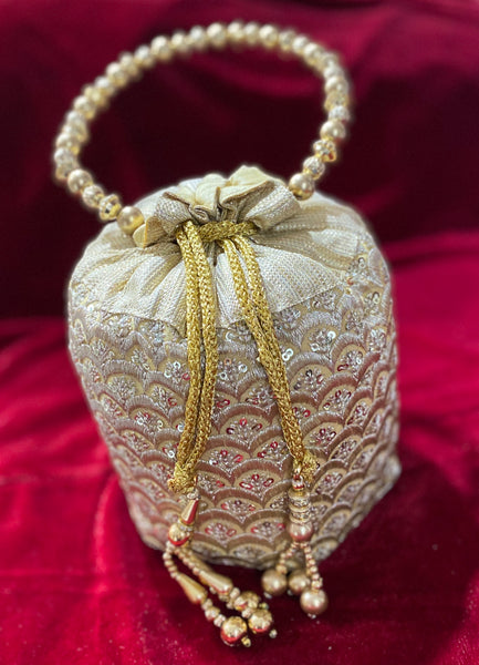 Bridal Potli Bag Golden - Indian Wedding Bazar