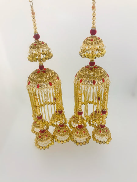 Red and golden jhumki kalire