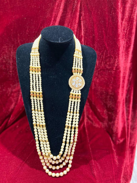 Polki Single Pendant Groom's Mala - Indian Wedding Bazar