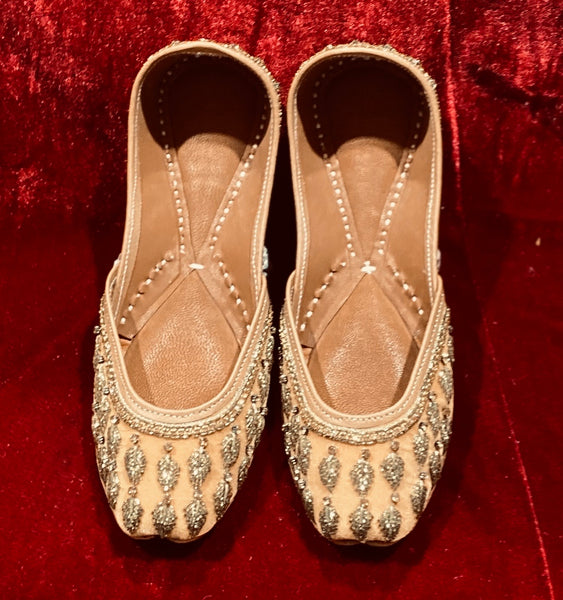 Women Punjabi Jutti in Velvet Gold - Indian Wedding Bazar