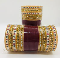 Bridal chura with polki bangles