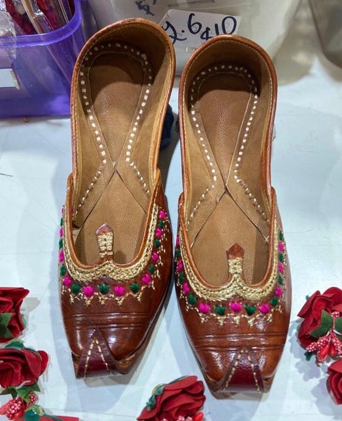 Women Punjabi Khussa in Tan - Indian Wedding Bazar