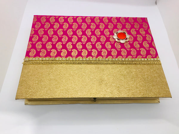 Pink paisley sweet box (large) - Indian Wedding Bazar