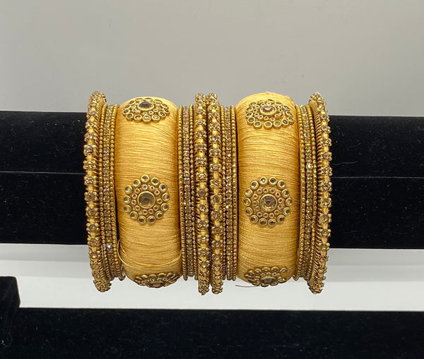 SULTANA Golden Silk Thread Bangle Set - Indian Wedding Bazar