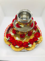 Red Flower and gold karwachauth thali