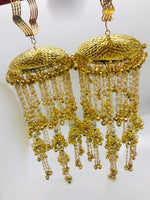 Long golden kalire with pearls