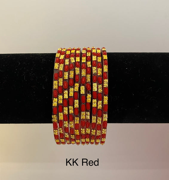 KK Red Glass Bangles (1 dz)
