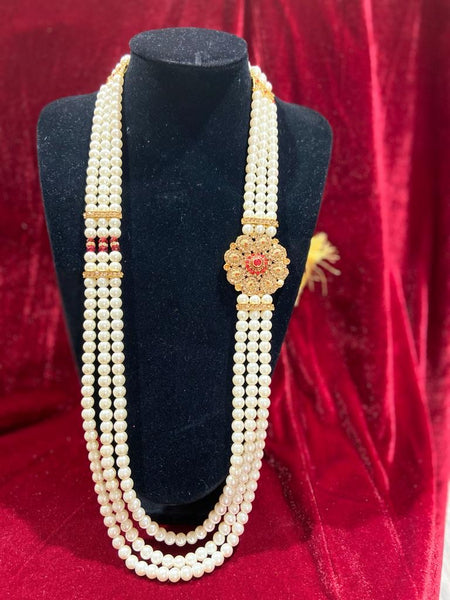Polki Red Single Pendant Groom's Mala - Indian Wedding Bazar