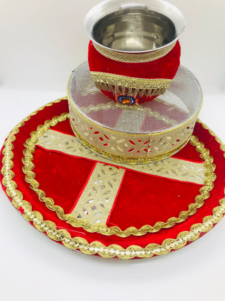 Red velvet and golden lace karwachauth thali