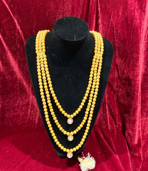 Triple layer Golden Pearl Kundan Groom's Mala