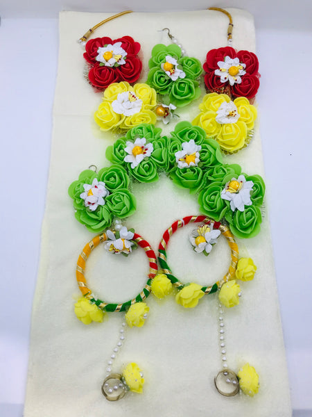 Multi-colour flower jewellery set