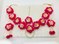 Pink flower jewellery set