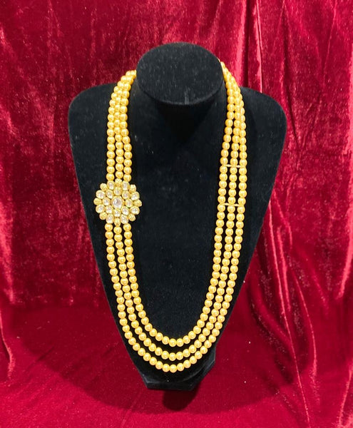 Golden Kundan Single Pendant Groom's Mala - Indian Wedding Bazar